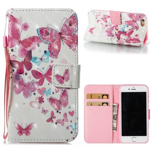Heart Butterfly 3D Painted Leather Wallet Case for iPhone 6s 6 6G(4.7 inch)
