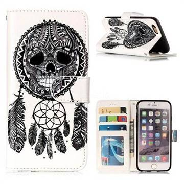 Wind Chimes Skull 3D Relief Oil PU Leather Wallet Case for iPhone 6s 6 6G(4.7 inch)