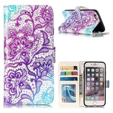 Purple Lotus 3D Relief Oil PU Leather Wallet Case for iPhone 6s 6 6G(4.7 inch)