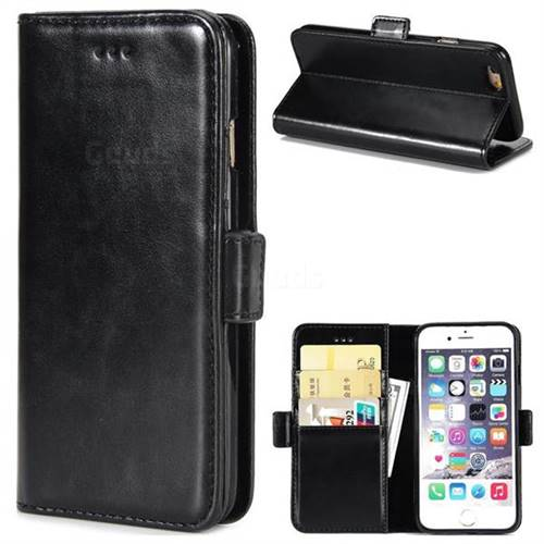 Luxury Crazy Horse PU Leather Wallet Case for iPhone 6s 6 6G(4.7 inch) - Black