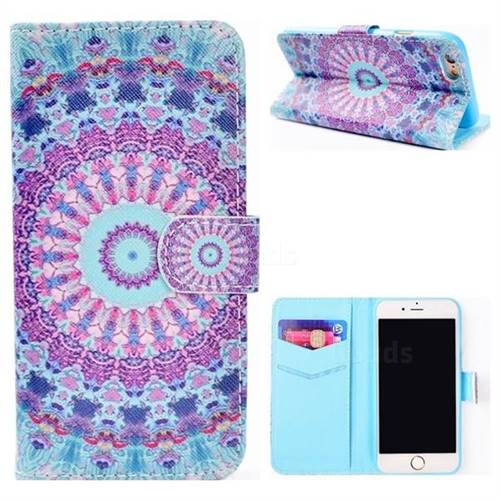 Mint Green Mandala Flower Stand Leather Wallet Case for iPhone 6s 6 6G(4.7 inch)