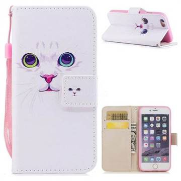 White Cat PU Leather Wallet Case for iPhone 6s 6 6G(4.7 inch)