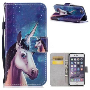 Blue Unicorn PU Leather Wallet Case for iPhone 6s 6 6G(4.7 inch)