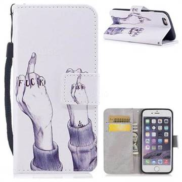 Middle Finger PU Leather Wallet Case for iPhone 6s 6 6G(4.7 inch)