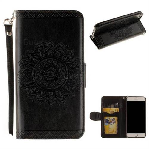 Embossed Datura Flower PU Leather Wallet Case for iPhone 6s 6 6G(4.7 inch) - Black