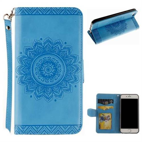 Embossed Datura Flower PU Leather Wallet Case for iPhone 6s 6 6G(4.7 inch) - Blue