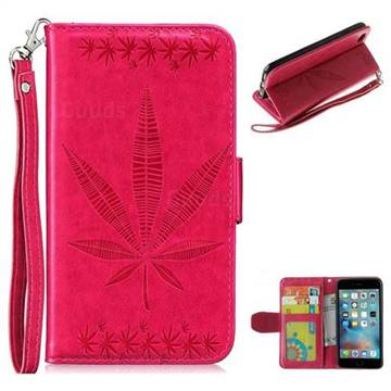 Intricate Embossing Maple Leather Wallet Case for iPhone 6s 6 6G(4.7 inch) - Rose