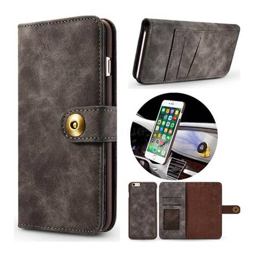 Luxury Vintage Split Separated Leather Wallet Case for iPhone 6s 6 6G(4.7 inch) - Black