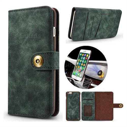 Luxury Vintage Split Separated Leather Wallet Case for iPhone 6s 6 6G(4.7 inch) - Dark Green