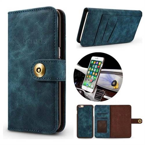 Luxury Vintage Split Separated Leather Wallet Case for iPhone 6s 6 6G(4.7 inch) - Navy Blue