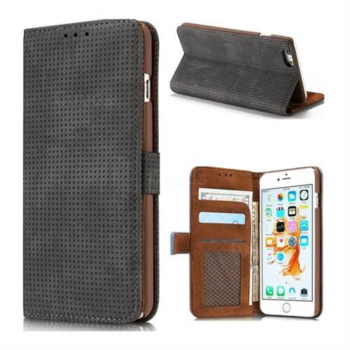 Luxury Vintage Mesh Monternet Leather Wallet Case for iPhone 6s 6 6G(4.7 inch) - Black
