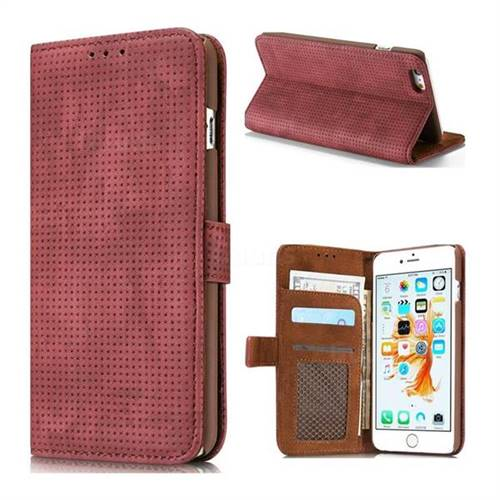Luxury Vintage Mesh Monternet Leather Wallet Case for iPhone 6s 6 6G(4.7 inch) - Rose