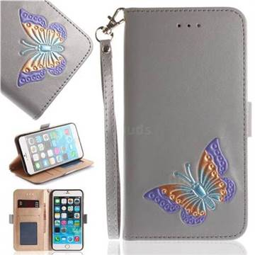 Imprint Embossing Butterfly Leather Wallet Case for iPhone 6s 6 6G(4.7 inch) - Grey