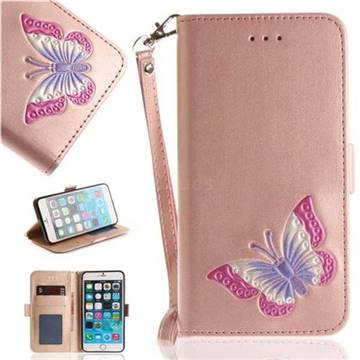 Imprint Embossing Butterfly Leather Wallet Case for iPhone 6s 6 6G(4.7 inch) - Rose Gold