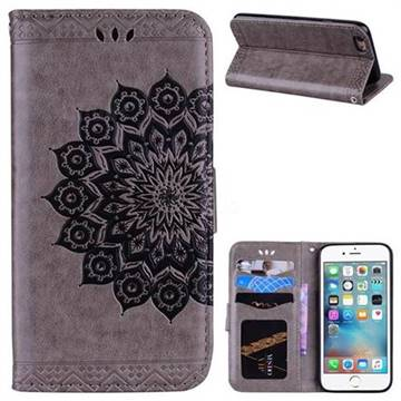 Datura Flowers Flash Powder Leather Wallet Holster Case for iPhone 6s 6 6G(4.7 inch) - Gray