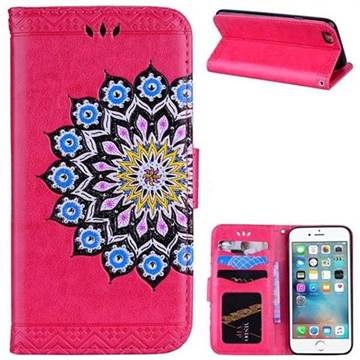 Datura Flowers Flash Powder Leather Wallet Holster Case for iPhone 6s 6 6G(4.7 inch) - Rose