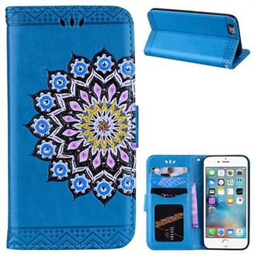 Datura Flowers Flash Powder Leather Wallet Holster Case for iPhone 6s 6 6G(4.7 inch) - Blue