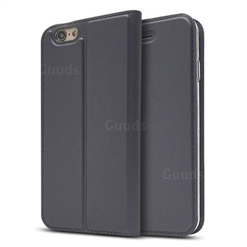 Ultra Slim Card Magnetic Automatic Suction Leather Wallet Case for iPhone 6s 6 6G(4.7 inch) - Star Grey