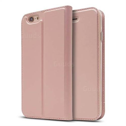 Ultra Slim Card Magnetic Automatic Suction Leather Wallet Case for iPhone 6s 6 6G(4.7 inch) - Rose Gold