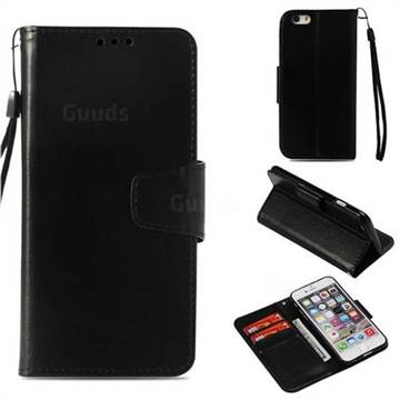 Retro Phantom Smooth PU Leather Wallet Holster Case for iPhone 6s 6 6G(4.7 inch) - Black