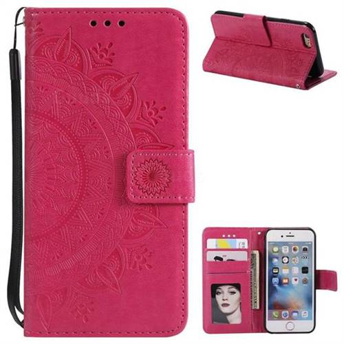 Intricate Embossing Datura Leather Wallet Case for iPhone 6s 6 6G(4.7 inch) - Rose Red