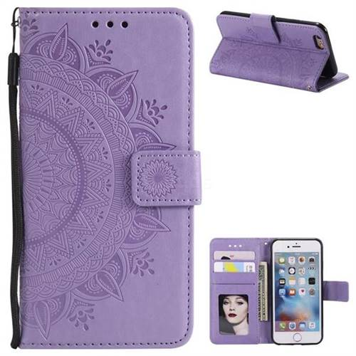 Intricate Embossing Datura Leather Wallet Case for iPhone 6s 6 6G(4.7 inch) - Purple