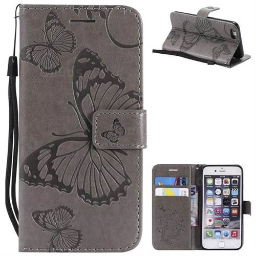Embossing 3D Butterfly Leather Wallet Case for iPhone 6s 6 6G(4.7 inch) - Gray