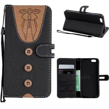 Ladies Bow Clothes Pattern Leather Wallet Phone Case for iPhone 6s 6 6G(4.7 inch) - Black