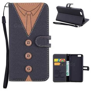 Mens Button Clothing Style Leather Wallet Phone Case for iPhone 6s 6 6G(4.7 inch) - Black