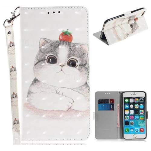 Cute Tomato Cat 3D Painted Leather Wallet Phone Case for iPhone 6s 6 6G(4.7 inch)