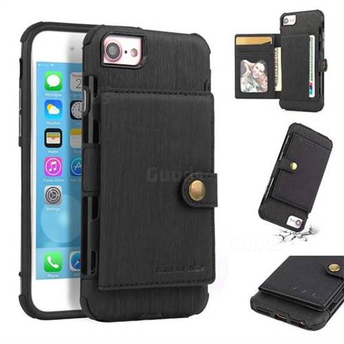 Brush Multi-function Leather Phone Case for iPhone 6s 6 6G(4.7 inch) - Black