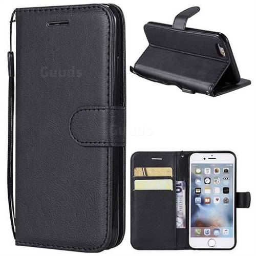 Retro Greek Classic Smooth PU Leather Wallet Phone Case for iPhone 6s 6 6G(4.7 inch) - Black