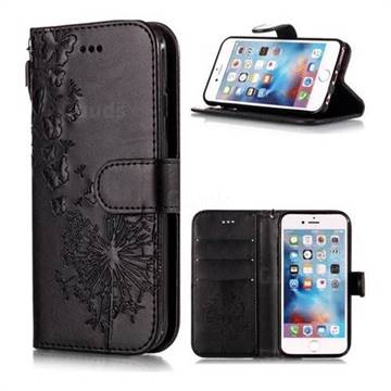 Intricate Embossing Dandelion Butterfly Leather Wallet Case for iPhone 6s 6 6G(4.7 inch) - Black