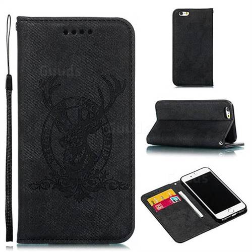 Retro Intricate Embossing Elk Seal Leather Wallet Case for iPhone 6s 6 6G(4.7 inch) - Black
