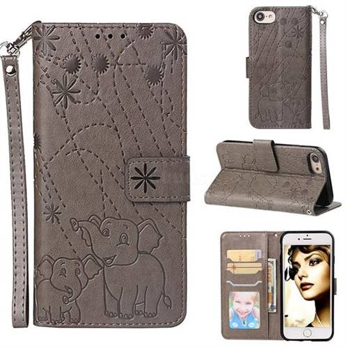 Embossing Fireworks Elephant Leather Wallet Case for iPhone 6s 6 6G(4.7 inch) - Gray