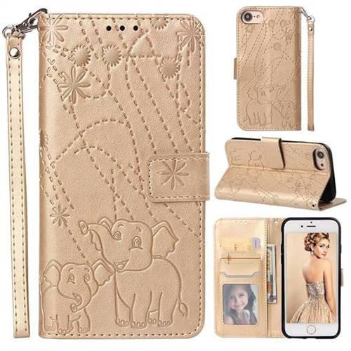 Embossing Fireworks Elephant Leather Wallet Case for iPhone 6s 6 6G(4.7 inch) - Golden