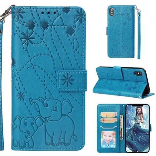 Embossing Fireworks Elephant Leather Wallet Case for iPhone 6s 6 6G(4.7 inch) - Blue