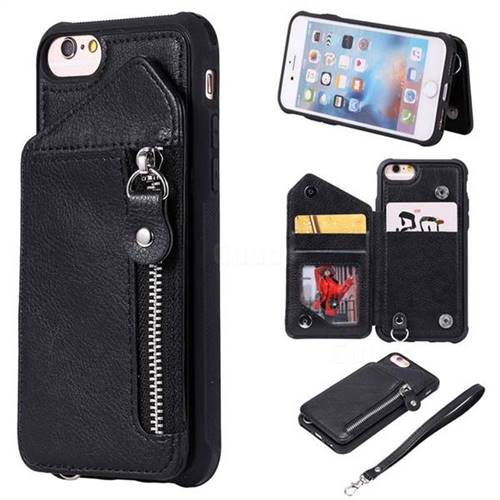 Classic Luxury Buckle Zipper Anti-fall Leather Phone Back Cover for iPhone 6s 6 6G(4.7 inch) - Black