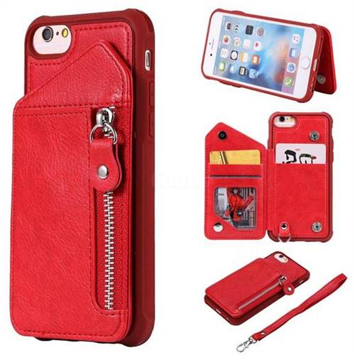 Classic Luxury Buckle Zipper Anti-fall Leather Phone Back Cover for iPhone 6s 6 6G(4.7 inch) - Red