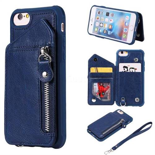 Classic Luxury Buckle Zipper Anti-fall Leather Phone Back Cover for iPhone 6s 6 6G(4.7 inch) - Blue