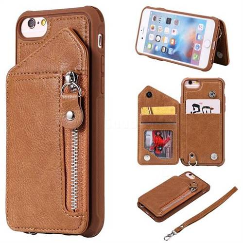 Classic Luxury Buckle Zipper Anti-fall Leather Phone Back Cover for iPhone 6s 6 6G(4.7 inch) - Brown