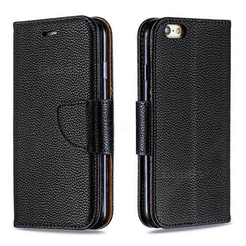 Classic Luxury Litchi Leather Phone Wallet Case for iPhone 6s 6 6G(4.7 inch) - Black