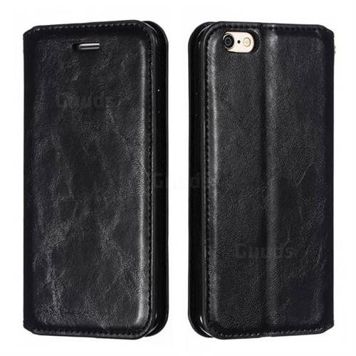 Retro Slim Magnetic Crazy Horse PU Leather Wallet Case for iPhone 6s 6 6G(4.7 inch) - Black