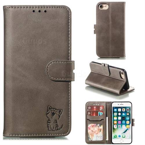 Embossing Happy Cat Leather Wallet Case for iPhone 6s 6 6G(4.7 inch) - Gray