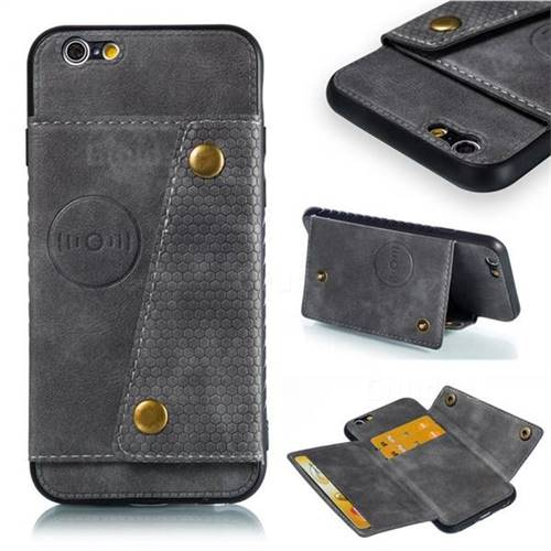 Retro Multifunction Card Slots Stand Leather Coated Phone Back Cover for iPhone 6s 6 6G(4.7 inch) - Gray