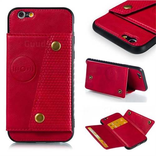 Retro Multifunction Card Slots Stand Leather Coated Phone Back Cover for iPhone 6s 6 6G(4.7 inch) - Red