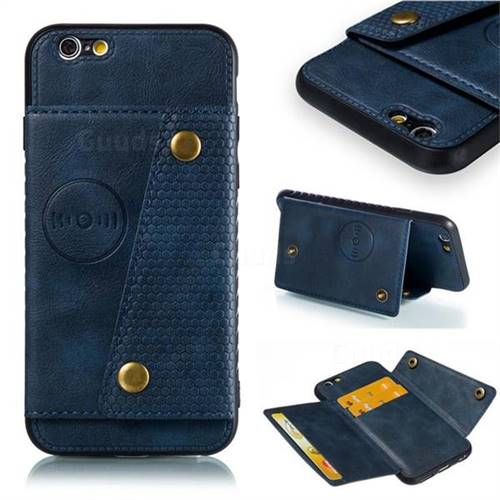 Retro Multifunction Card Slots Stand Leather Coated Phone Back Cover for iPhone 6s 6 6G(4.7 inch) - Blue