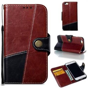 Retro Magnetic Stitching Wallet Flip Cover for iPhone 6s 6 6G(4.7 inch) - Dark Red