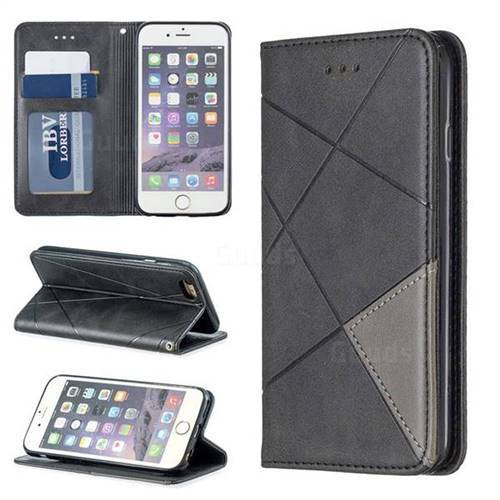 Prismatic Slim Magnetic Sucking Stitching Wallet Flip Cover for iPhone 6s 6 6G(4.7 inch) - Black