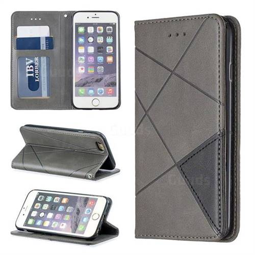Prismatic Slim Magnetic Sucking Stitching Wallet Flip Cover for iPhone 6s 6 6G(4.7 inch) - Gray